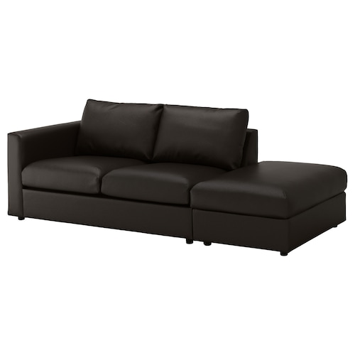 VIMLE 3-seat sofa with open end/Farsta black 80 cm 227 cm 98 cm 4 cm 15 cm 65 cm 214 cm 55 cm 45 cm