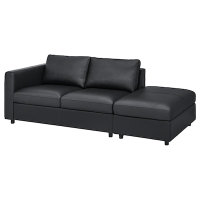 VIMLE كنبة 3 مقاعد, مع طرف مفتوح/Grann/Bomstad أسود