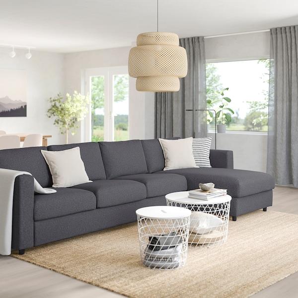 VIMLE 4-seat sofa with chaise longue, Gunnared medium grey