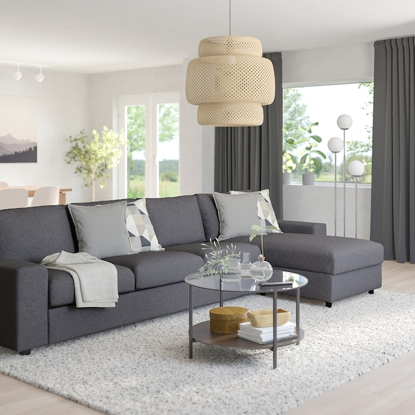 VIMLE 4-seat sofa with chaise longue, with wide armrests/Gunnared medium grey