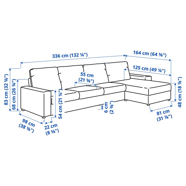 VIMLE 4-seat sofa with chaise longue, with wide armrests/Hallarp grey