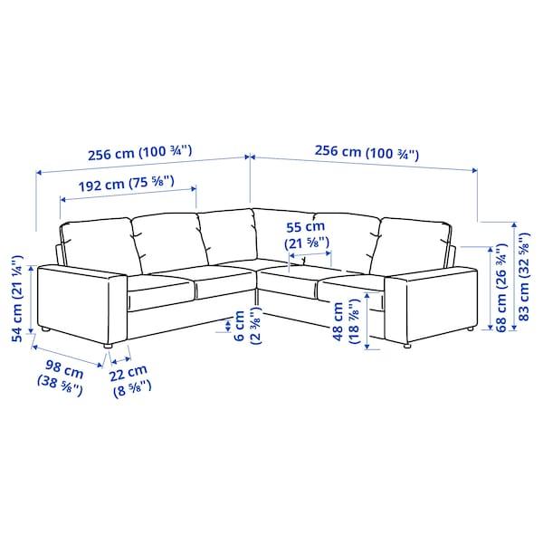 VIMLE Corner sofa, 4-seat, with wide armrests/Hallarp beige