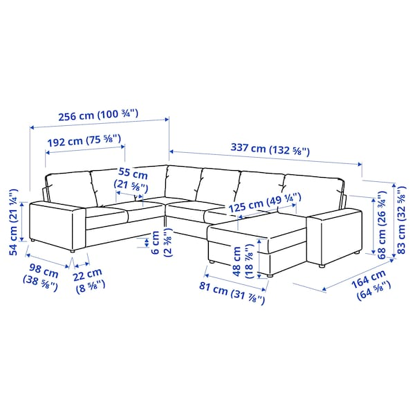 VIMLE Corner sofa, 5-seat w chaise longue, with wide armrests/Gunnared beige