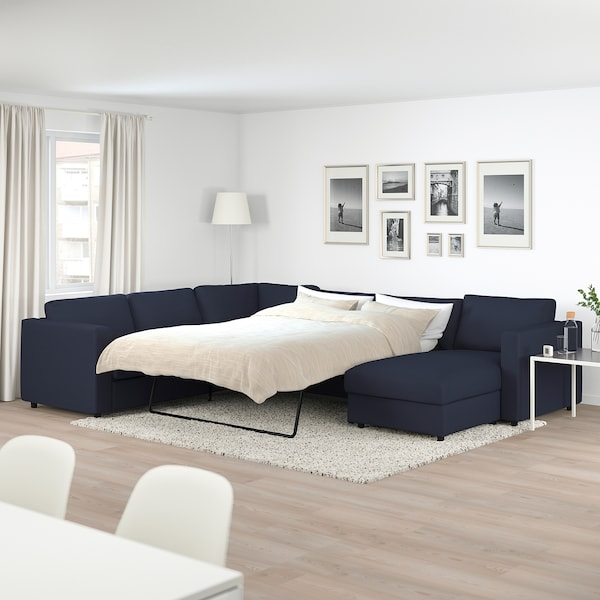 VIMLE Corner sofa-bed, 5-seat, with chaise longue/Orrsta black-blue