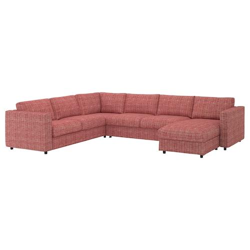 VIMLE corner sofa-bed, 5-seat with chaise longue/Dalstorp multicolour 53 cm 83 cm 68 cm 98 cm 241 cm 349 cm 249 cm 6 cm 55 cm 48 cm 140 cm 200 cm 12 cm