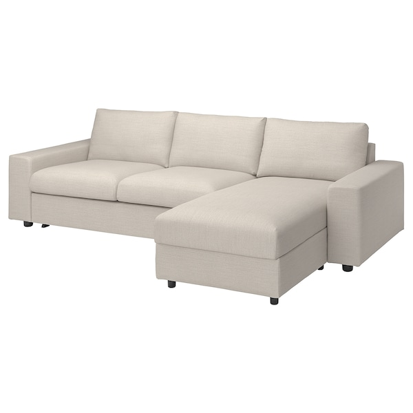 VIMLE غطاء كنبة-سرير 3 مقاعد/أريكة طويلة, مع مساند ذراع واسعة Gunnared/بيج