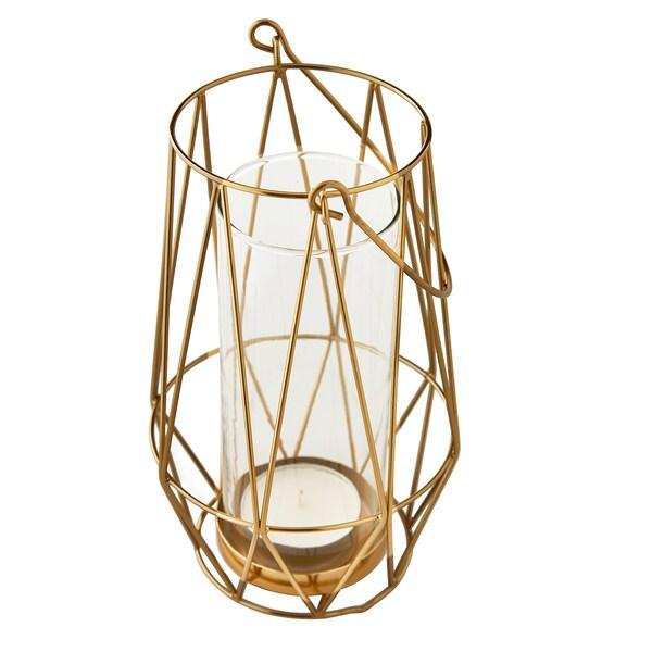 VINDFLÄKT tealight holder gold-colour 24 cm 14 cm