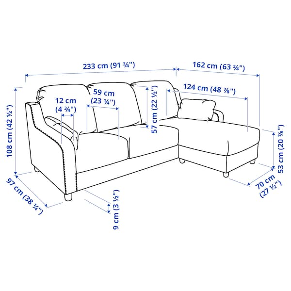 VINLIDEN 3-seat sofa with chaise longue, Hakebo beige