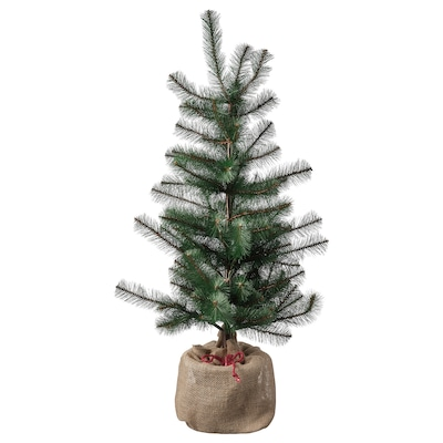 VINTER 2021 Artificial potted plant, in/outdoor jute/Christmas tree green, 104 cm