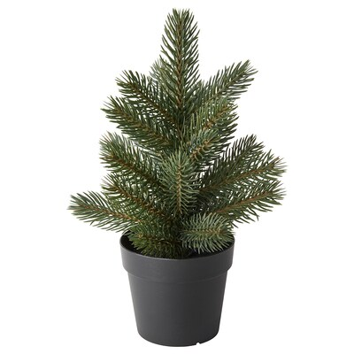 VINTER 2021 Artificial potted plant with pot, in/outdoor/Christmas tree green, 9 cm