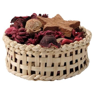 VINTER 2021 Basket with potpourri, handmade/Orange and clove red, 13 cm