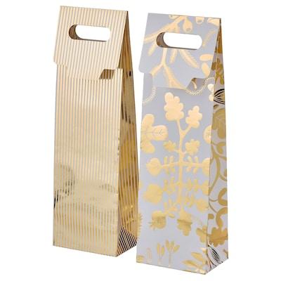 VINTER 2021 Gift bag for bottle, stripe pattern/floral pattern white/gold-colour, 13x41 cm