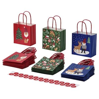 VINTER 2021 Gift bag, mixed patterns/multicolour, 10x10 cm