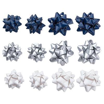 VINTER 2021 Gift bow, set of 12, blue/silver-colour/white