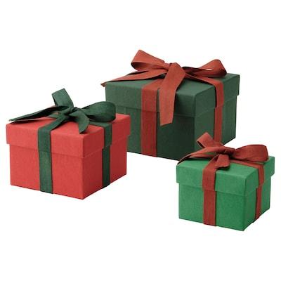 VINTER 2021 Gift box, set of 3, handmade green/red