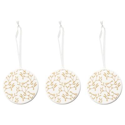VINTER 2021 Hanging decoration, white/mistletoe patterned gold-colour, 7 cm