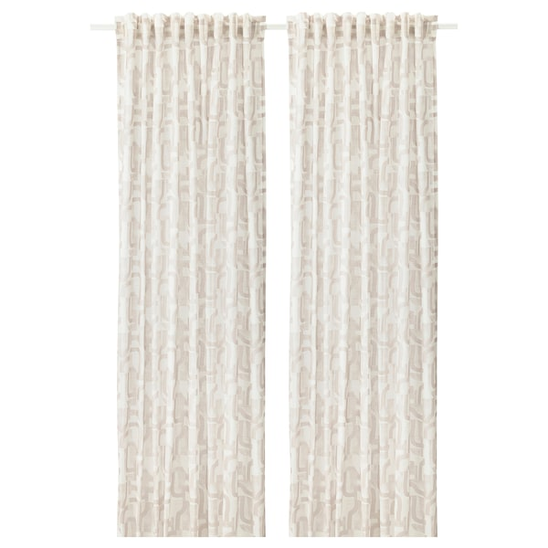 VINTERJASMIN curtains, 1 pair white/beige 300 cm 145 cm 1.03 kg 4.35 m² 2 pack