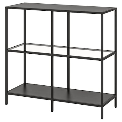 VITTSJÖ Shelving unit, black-brown/glass, 100x93 cm