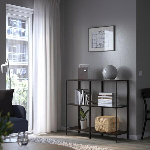 VITTSJÖ وحدة رفوف, أسود-بني/زجاج, 100x93 سم