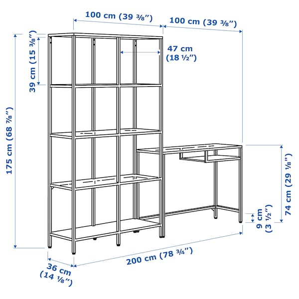 VITTSJÖ وحدة رف مع طاولة كمبيوتر محمول, أسود-بني/زجاج, 200x36x175 سم