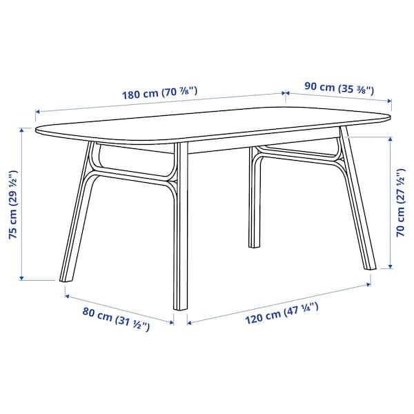VOXLÖV / ODGER طاولة و4 كراسي, خيزران/أخضر, 180x90 سم