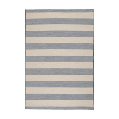 VRENSTED Rug flatwoven, in/outdoor, beige/light blue, 133x195 cm