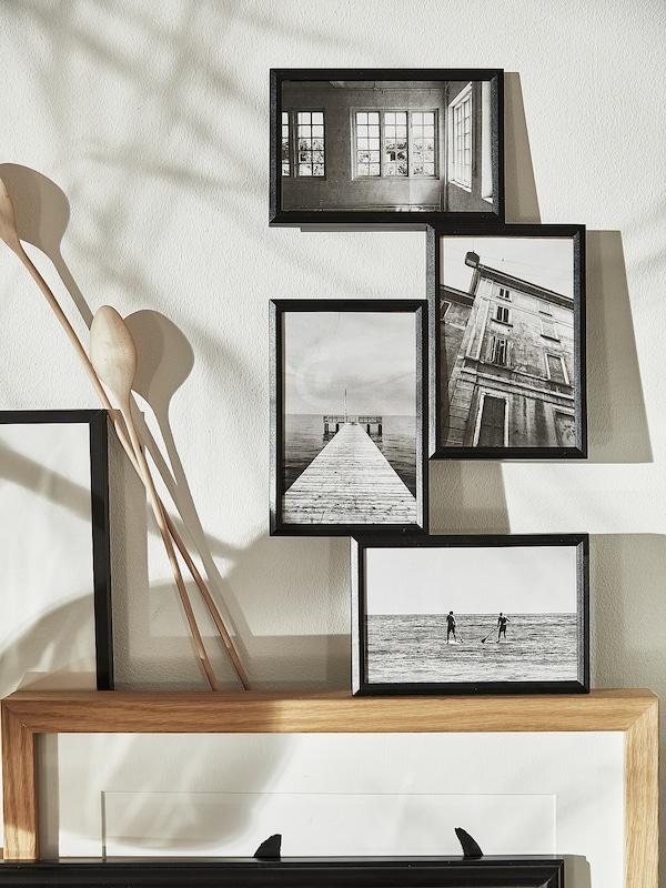 YLLEVAD Collage frame for 4 photos, black, 21x41 cm