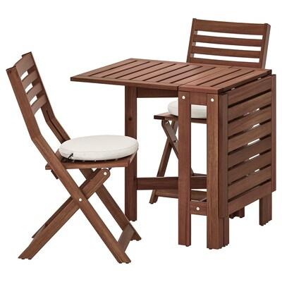 ÄPPLARÖ Masă cu 2 scaune pliante, exterior, vopsit maro/Frösön/Duvholmen bej
