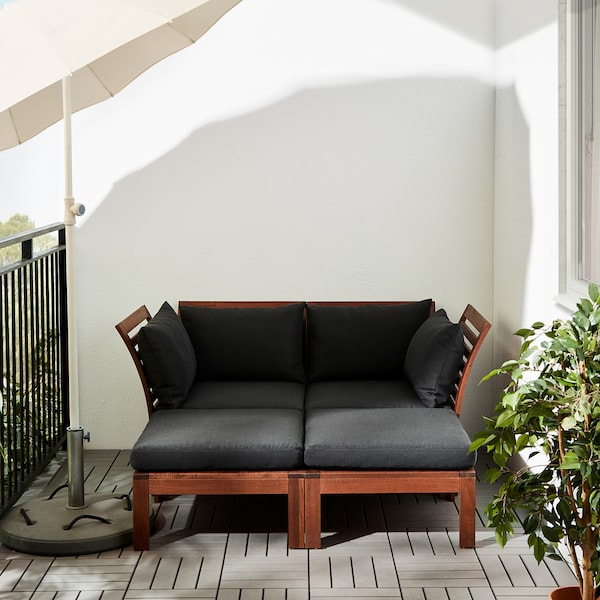 ÄPPLARÖ Masă/secţiune taburet exterior, vopsit maro, 63x63 cm