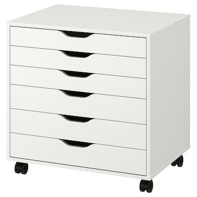 ALEX Comodă cu rotile, alb, 67x66 cm