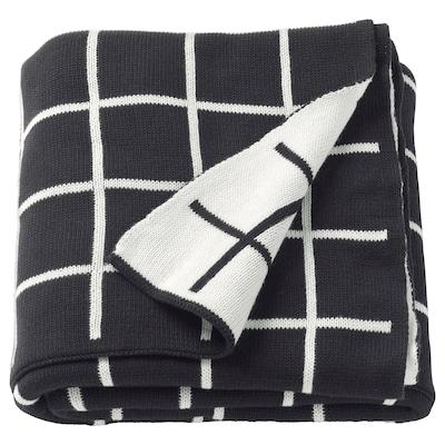 ALMALIE Pătură, negru/alb, 130x170 cm