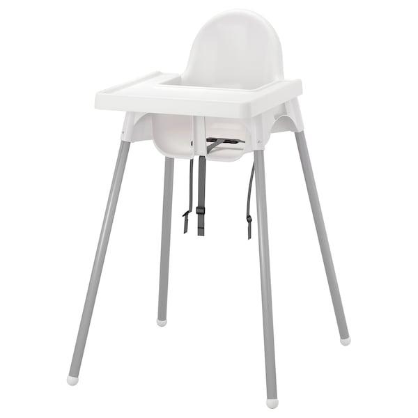 ANTILOP scaun înalt cu tavă alb/argintiu 56 cm 62 cm 90 cm 25 cm 22 cm 54 cm 15 kg