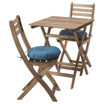 ASKHOLMEN Masă+2 scaune exterior, vopsit gri-maro/Ytterön albastru