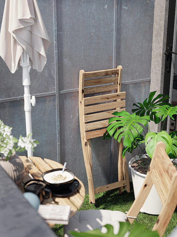 ASKHOLMEN Masă pentru perete+2 scaune, ext, maro deschis vopsit
