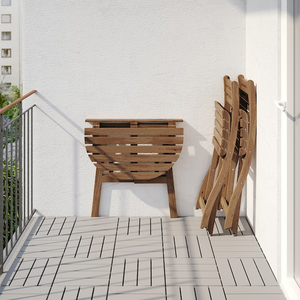 ASKHOLMEN Masă pentru perete+2 scaune, ext, vopsit gri-maro/Frösön/Duvholmen albastru