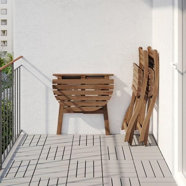 ASKHOLMEN Masă pentru perete+2 scaune, ext, vopsit gri-maro/Frösön/Duvholmen bej