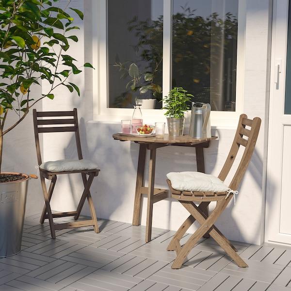 ASKHOLMEN Masă pentru perete+2 scaune, ext, vopsit gri-maro/Kuddarna bej