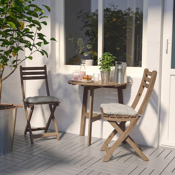 ASKHOLMEN Masă pentru perete+2 scaune, ext, vopsit gri-maro/Kuddarna gri