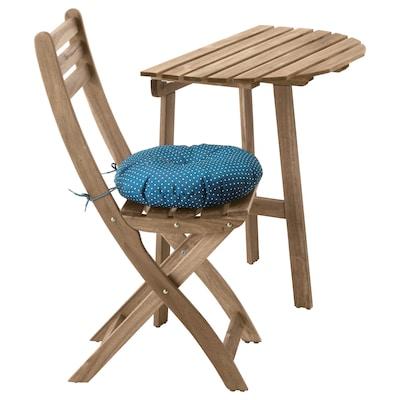 ASKHOLMEN Masă perete+scaun pliant,exterior, gri-maro/Ytterön albastru