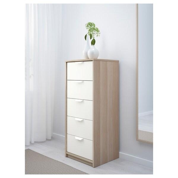 ASKVOLL Comodă 5 sertare, aspect stejar antichizat/alb, 45x109 cm