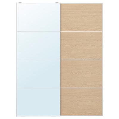 AULI / MEHAMN Set uşi glisante, oglindă/aspect stejar antichizat, 150x201 cm