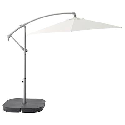 BAGGÖN / SVARTÖ Umbrelă soare suspendată+bază, alb/gri închis