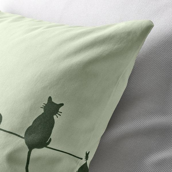 BARNDRÖM Faţă pernă, pisică/verde, 50x50 cm