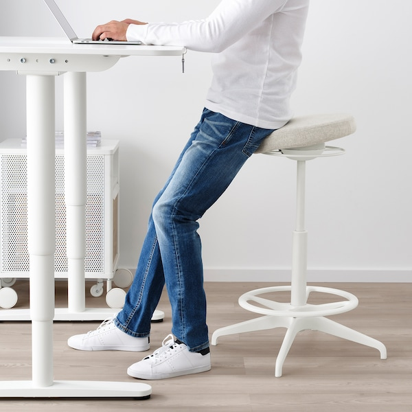 BEKANT Birou cu înălţime reglabilă, alb, 120x80 cm