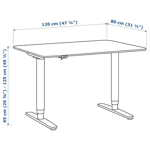 BEKANT Birou cu înălţime reglabilă, furnir frasin vopsit negru/alb, 120x80 cm