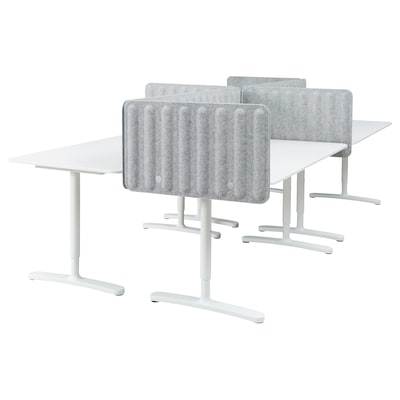 BEKANT Birou cu paravan, alb/gri, 320x160 48 cm