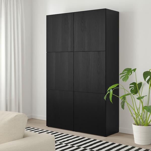 BESTÅ Ansamblu depozitare cu uşi, negru-maro/Timmerviken negru, 120x42x192 cm