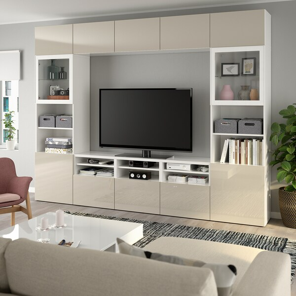 BESTÅ Ansamblu depozitare TV/uşi sticlă, alb/Selsviken lucios/sticlă transparentă bej, 300x40x230 cm