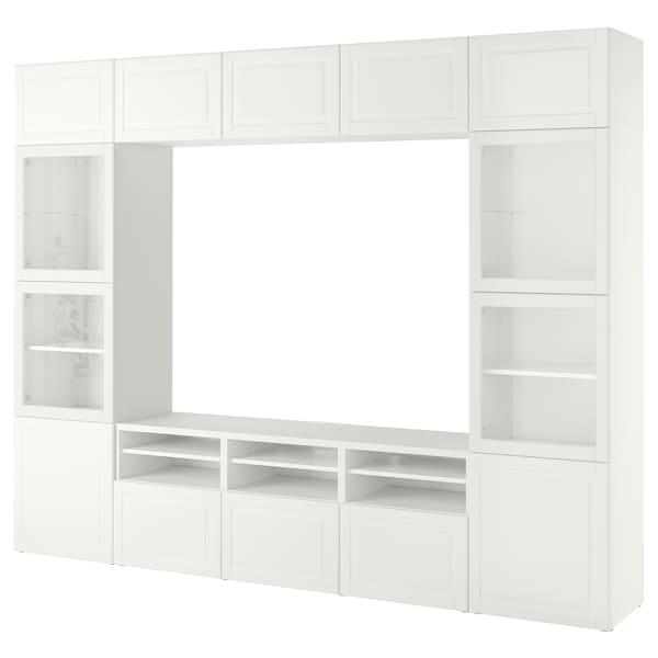BESTÅ Ansamblu depozitare TV/uşi sticlă, alb Smeviken/Ostvik sticlă alb, 300x42x230 cm