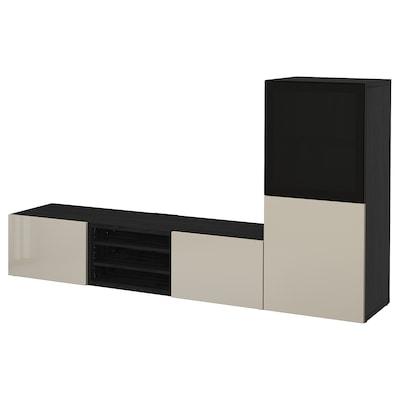 BESTÅ Ansamblu depozitare TV/uşi sticlă, negru-maro/Selsviken lucios/sticlă fumurie, 240x42x129 cm